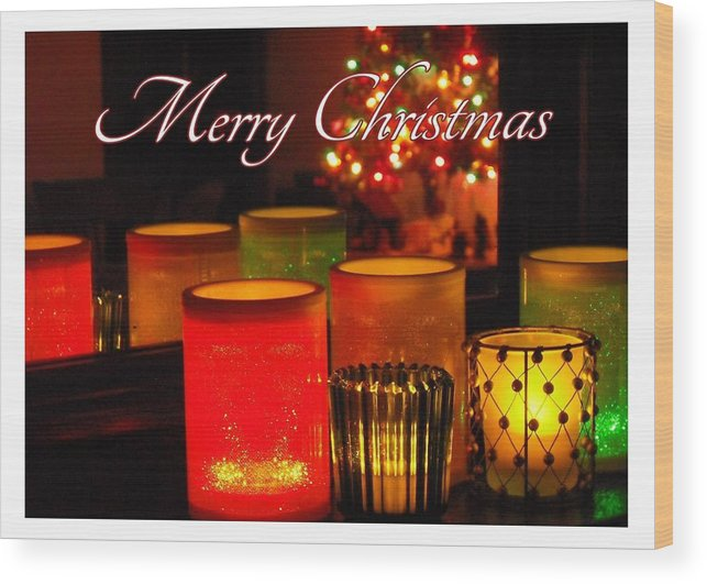 Christmas Wood Print featuring the photograph Christmas Candles by Elaine Ferrell