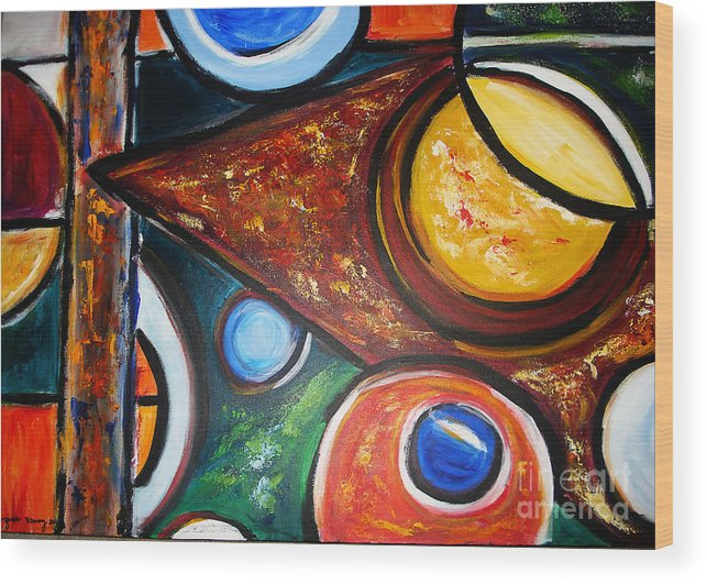 Abstract Painting Wood Print featuring the painting Circles Of Life by Yael VanGruber