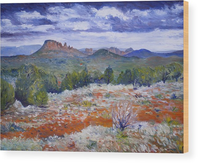 Sedona Arizona Wood Print featuring the painting Cockscomb Butte West Sedona Arizona Usa 2002 by Enver Larney