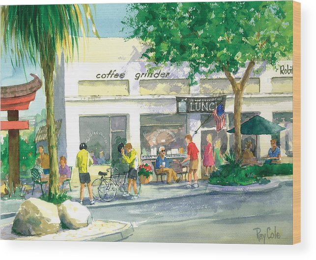 Cafe Wood Print featuring the painting Coffee Grinder by Ray Cole