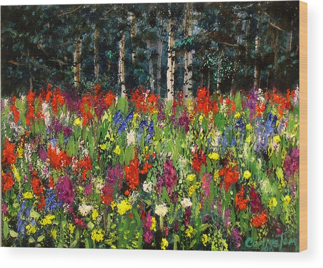 A Painting A Day Wood Print featuring the painting Colorado Rockies Wildflowers by Connie Tom