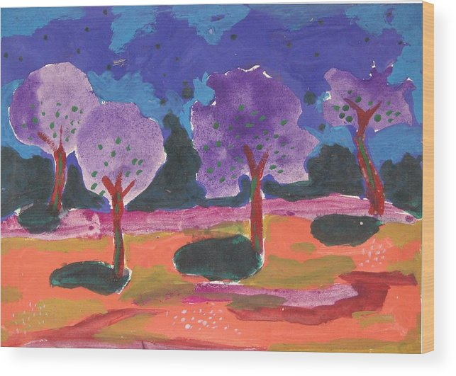 Illusive Nature Wood Print featuring the painting Colorfull Trees by Panditjee