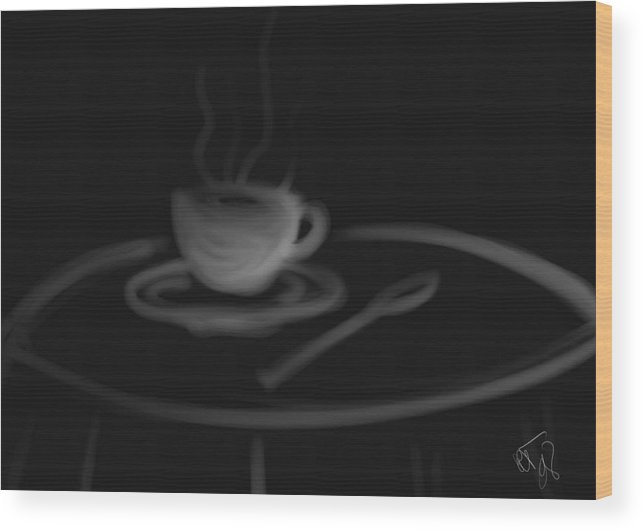 Coffee Wood Print featuring the painting Comfort Java by Ronald Terrel