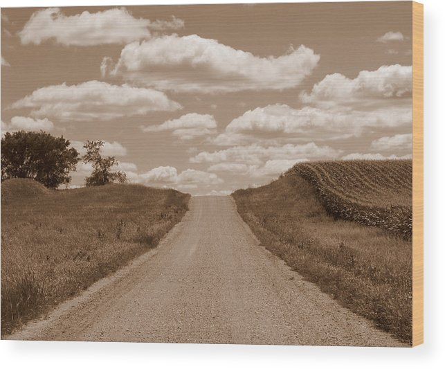 Sepia Wood Print featuring the photograph Country Road by Joni Moseng