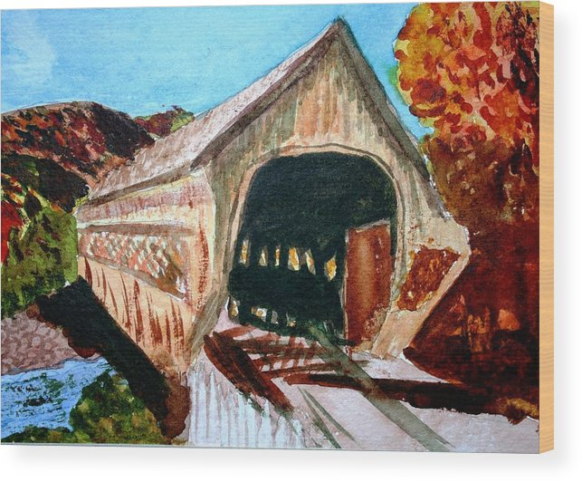 Covered Bridge Wood Print featuring the painting Covered Bridge Woodstock Vt by Donna Walsh
