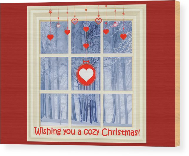 Merry Christmas Wood Print featuring the mixed media Cozy Christmas Card by Susan Lafleur