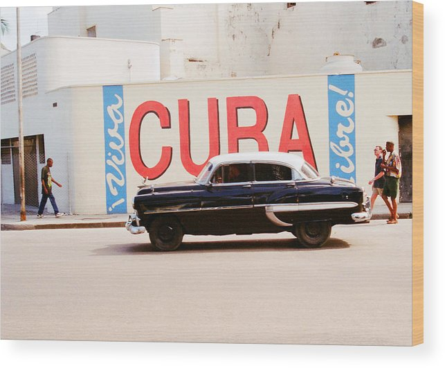 Cuba Wood Print featuring the photograph Cuba Car by Gareth M Thomas