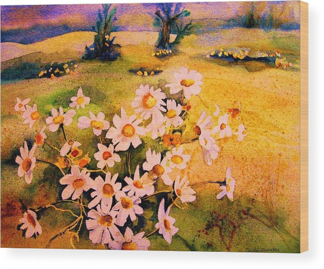 Daisies Wood Print featuring the painting Daisies In The Sun by Carole Spandau