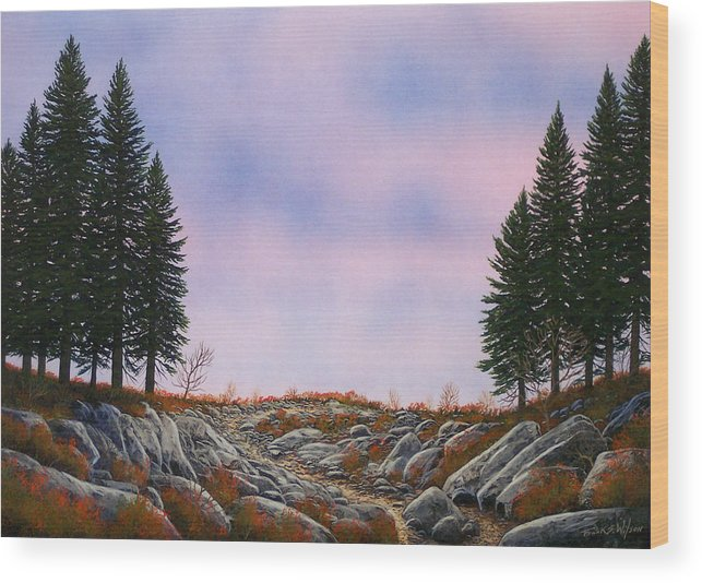 Landscape Wood Print featuring the painting Dawn Pacific Crest Trail by Frank Wilson