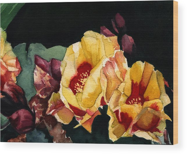 Watercolor Wood Print featuring the painting Desert Flowers by Patricia Halstead