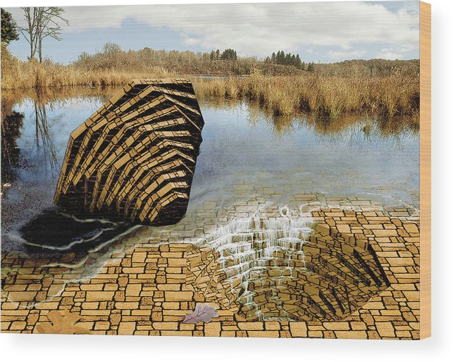 Drain Wood Print featuring the digital art Drain - Mendon Ponds by Peter J Sucy
