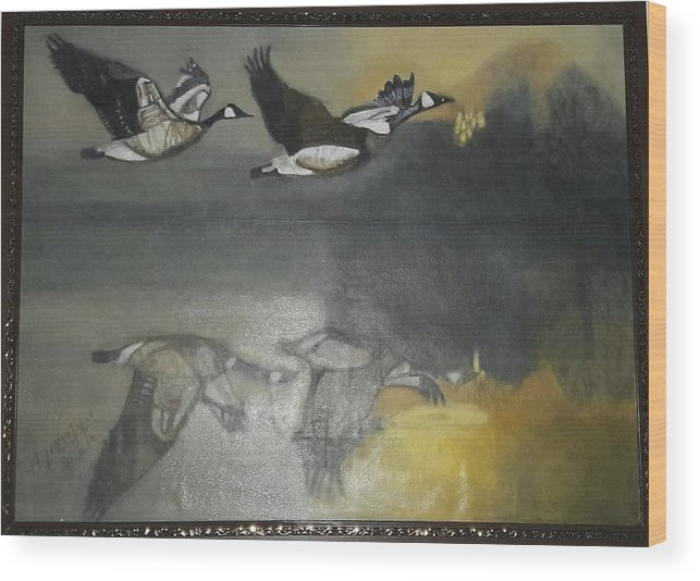 Landsacape Wood Print featuring the painting Duck Are Flying On The Sea Side by Ayesha Jafar