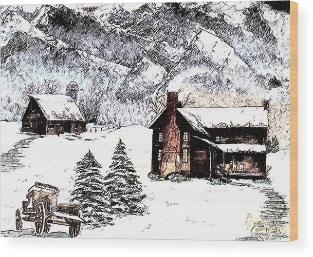 Landscape Wood Print featuring the painting Early Snowfall by Penny Everhart