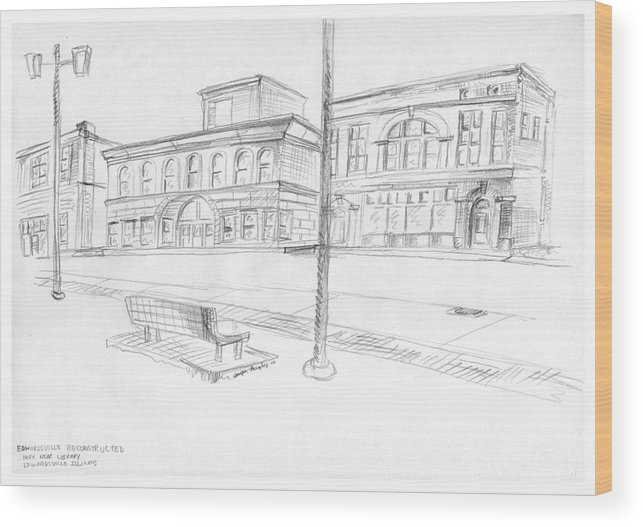 Structure Wood Print featuring the drawing Edwardsville Reconstructed by Joseph A Langley