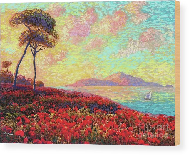 Wildflower Wood Print featuring the painting Enchanted By Poppies by Jane Small