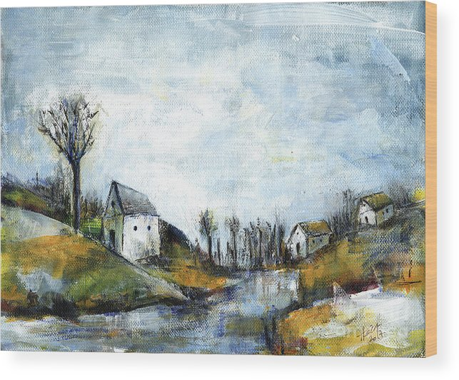 Landscape Wood Print featuring the painting End Of Winter - Acrylic Landscape Painting On Cotton Canvas by Aniko Hencz