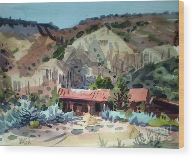 New Mexico Wood Print featuring the painting Espanola On The Rio Grande by Donald Maier