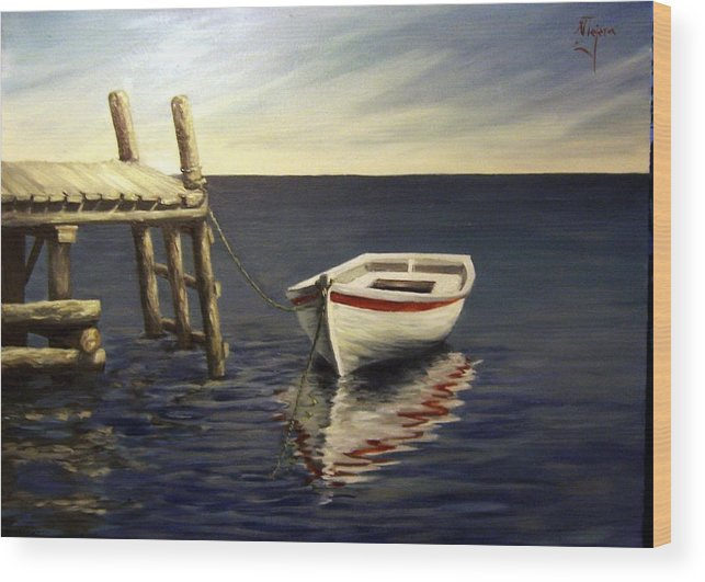 Sea Water Reflection Boat Seascape Coast Evening Dawn Marine Wood Print featuring the painting Evening Sea by Natalia Tejera