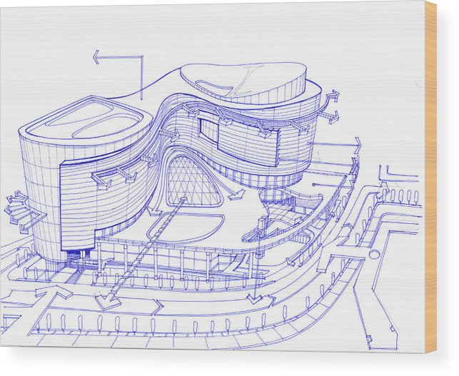 Architecture Wood Print Featuring The Drawing Exterior Sketch Of A Shopping Mall