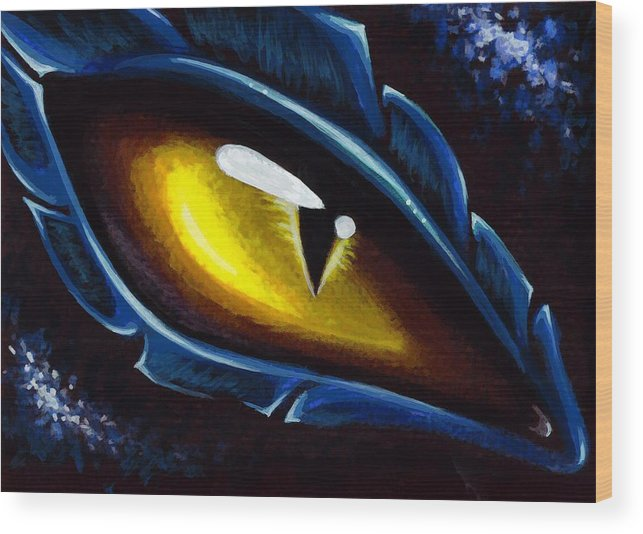 Dragon Eye Wood Print featuring the painting Eye Of The Blue Dragon by Elaina Wagner