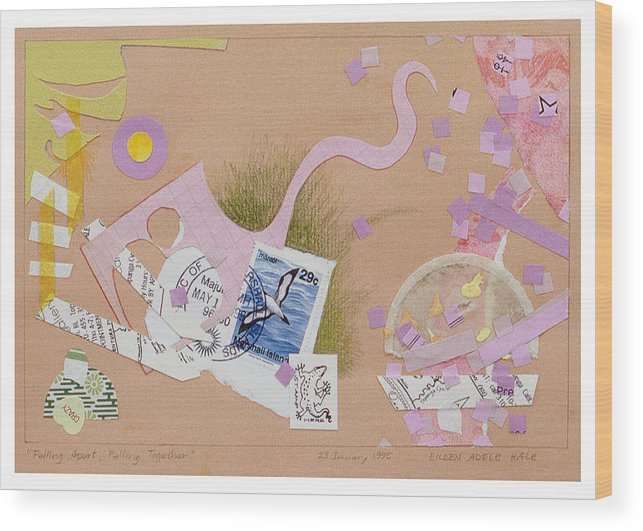 Collage Wood Print featuring the mixed media Falling Apart Falling Together by Eileen Hale