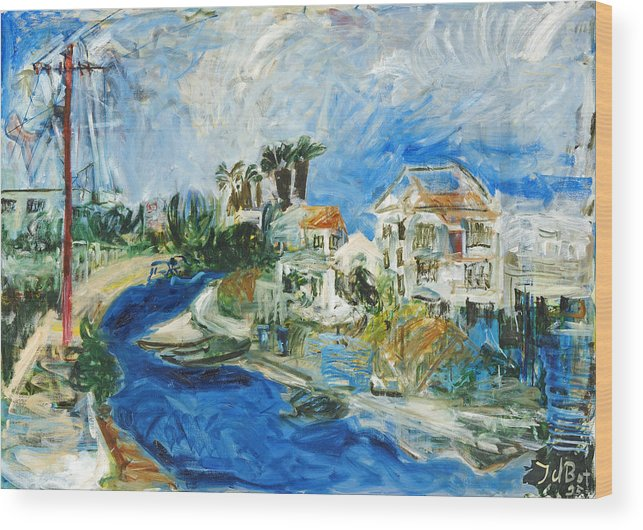 Town Houses Trees Palmtrees Street Blue Sky Wood Print featuring the painting Famagusta by Joan De Bot