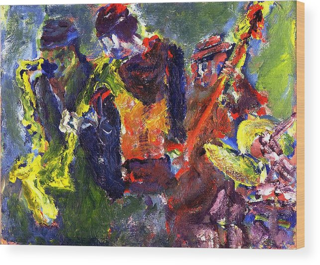 Live Jazz Quartet Wood Print featuring the painting Faruq And Skeeter by Don Thibodeaux