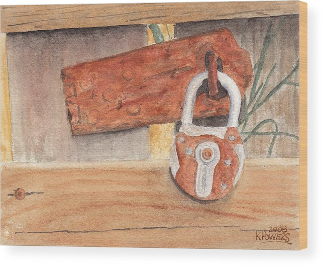 Fence Wood Print featuring the painting Fence Lock by Ken Powers