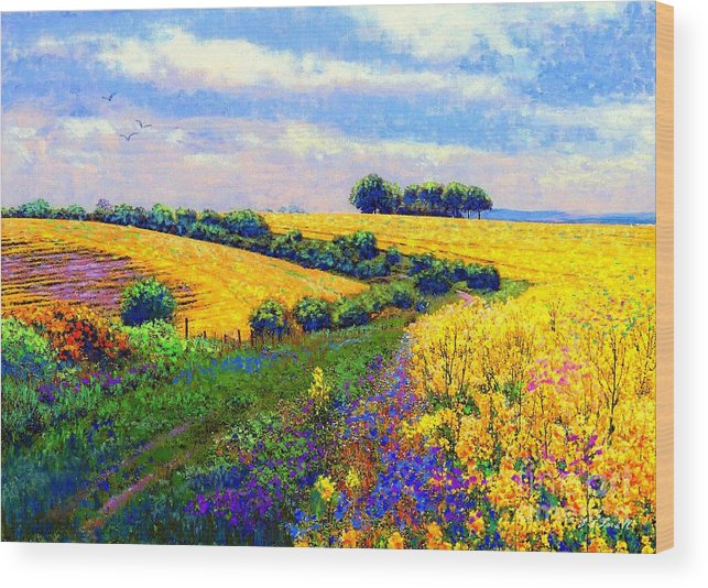 Sun Wood Print featuring the painting Fields Of Gold by Jane Small