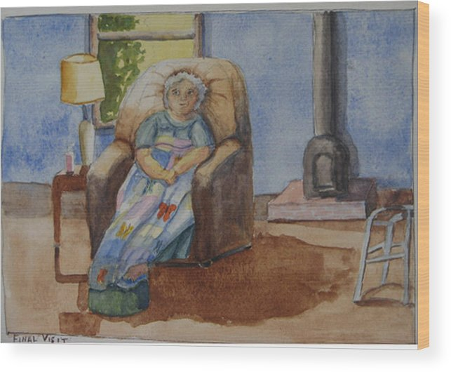 Figure Wood Print featuring the painting Final Visit by Libby Cagle