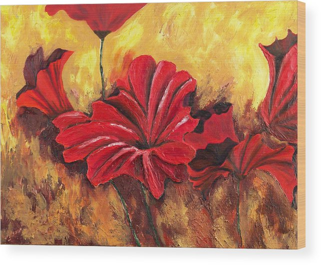 Flowers Wood Print featuring the painting First Passion by Helene Lagoudakis