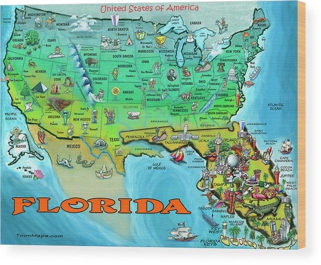 Florida Usa Cartoon Map Wood Print on