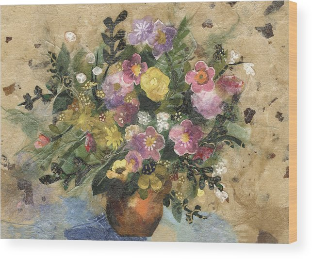 Limited Edition Prints Wood Print featuring the painting Flowers In A Clay Vase by Nira Schwartz