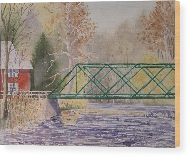 Fall Creek Bridge Wood Print featuring the painting Forest Home-ithaca by Joseph Stevenson