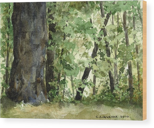 Forest Wood Print featuring the painting Forest by Svetlana Ledneva-Schukina
