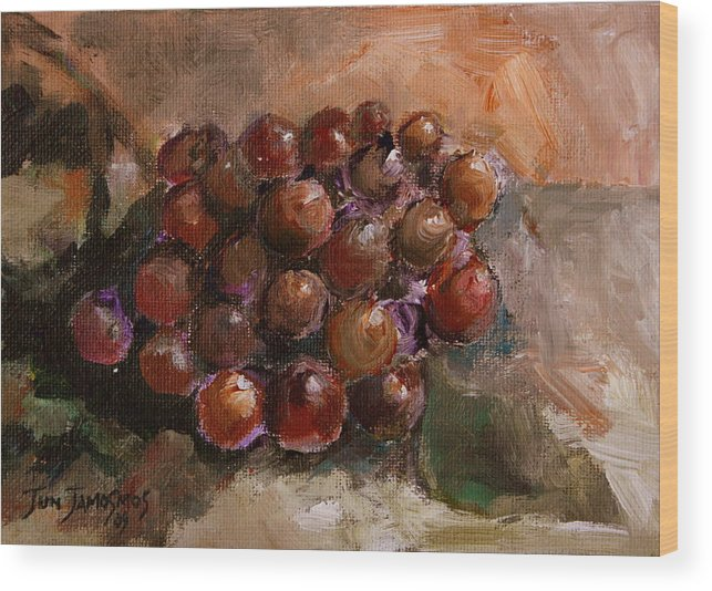 Grapes Wood Print featuring the painting From The Vine by Jun Jamosmos