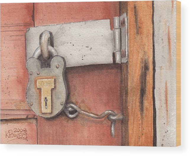 Lock Wood Print featuring the painting Garage Lock Number Four by Ken Powers