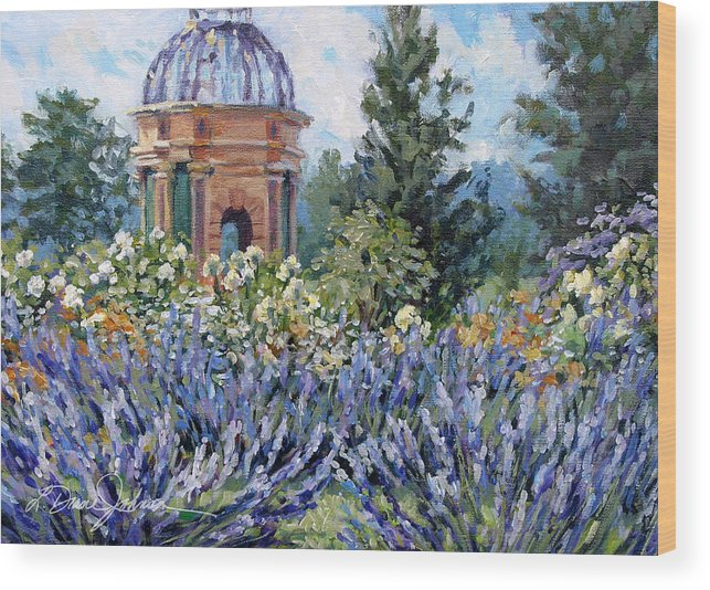 Provence France Wood Print featuring the painting Garden Profusion - Lavendar by L Diane Johnson