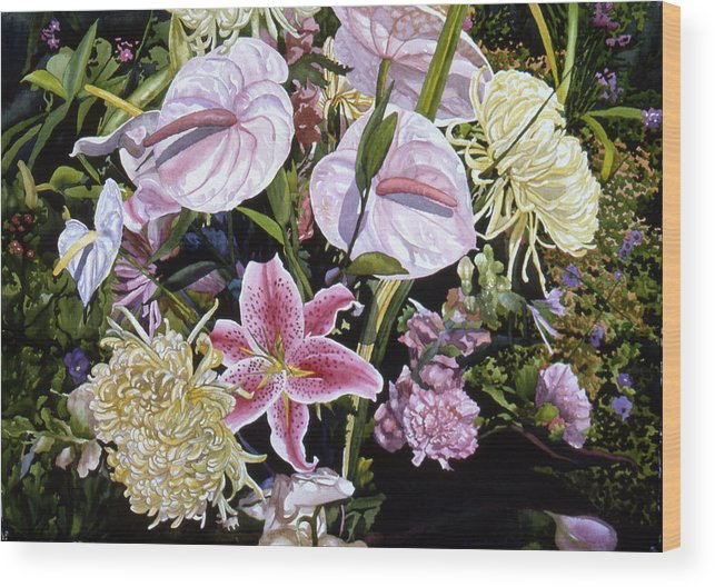 Watercolor Wood Print featuring the painting Garden Song by Teri Starkweather