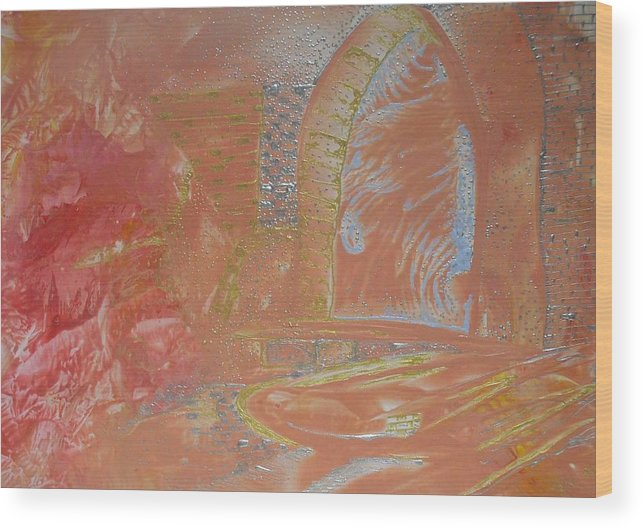 Encaustic Wood Print featuring the painting Gates By Flesh by Heather Hennick