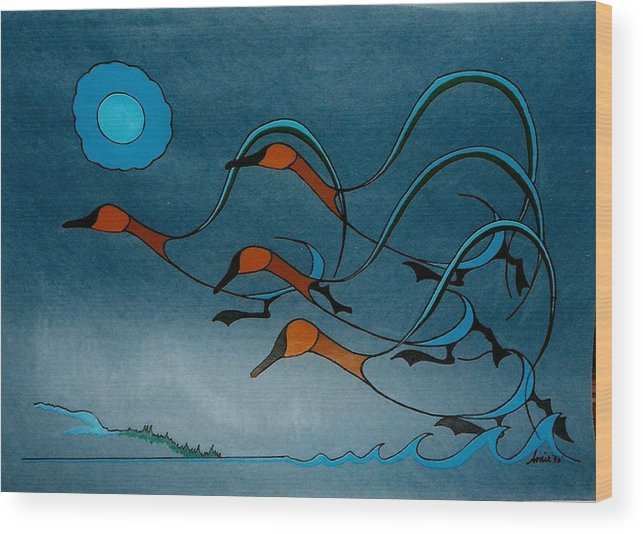 Geese Wood Print featuring the painting Geese Soutbound by Arnold Isbister
