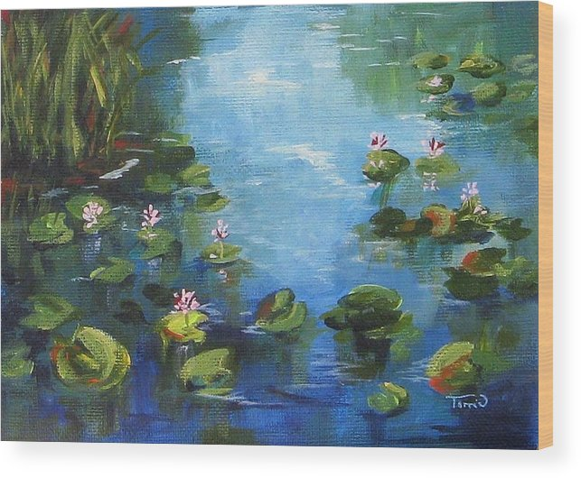 Giverny Wood Print featuring the painting Giverny Lily Pond by Torrie Smiley