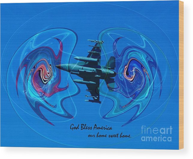 Patriotic Wood Print featuring the photograph God Bless 1 by Rick Rauzi