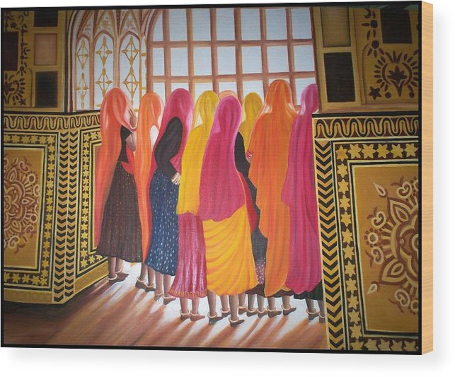 Figurative Wood Print featuring the painting Golden Cage by Usha Rai
