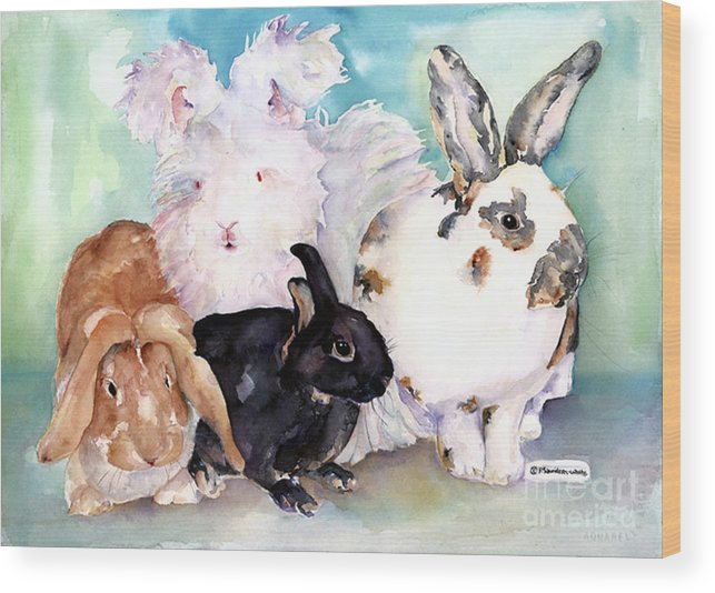 Animal Artwork Wood Print featuring the painting Good Hare Day by Pat Saunders-White