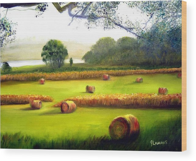 Landscape Wood Print featuring the painting Hay Bales by Julie Lamons