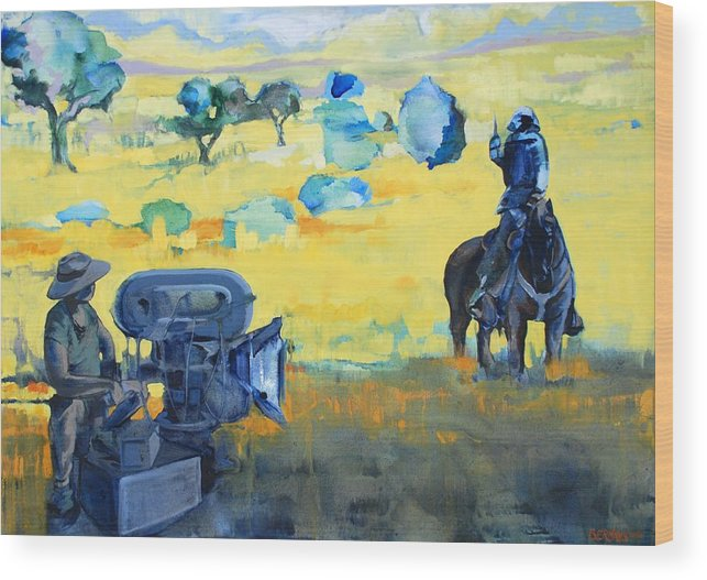 Landscape People Animals Horses Horse Film Camera Yello Blue Wood Print featuring the painting Hero On A Horse by Amy Bernays