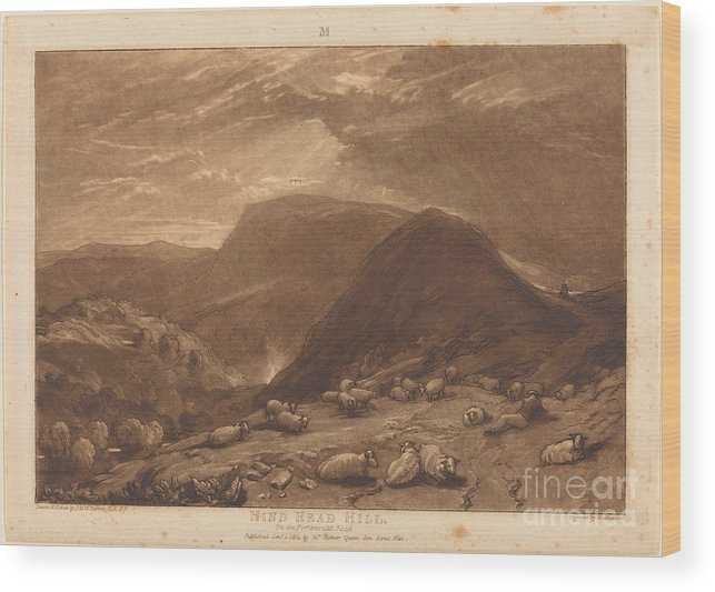 Wood Print featuring the drawing Hind Head Hill by Joseph Mallord William Turner And Robert Dunkarton