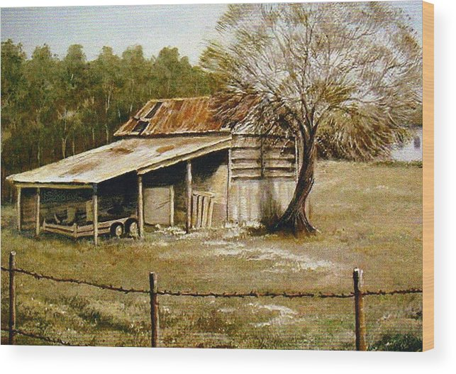 Barn Wood Print featuring the painting Hwy 29 by Sue Coley