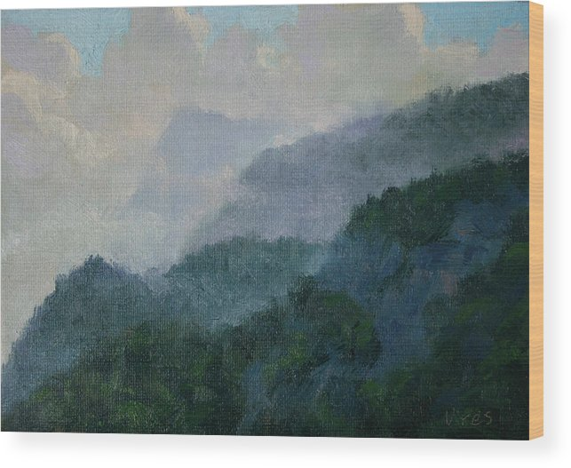 Realism Wood Print featuring the painting In The Clouds by Michael Vires